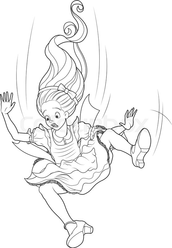 556x800 Alice Is Falling Down Into The Rabbit Hole Coloring Page Stock