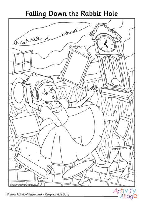 460x652 Falling Down The Rabbit Hole Colouring Page