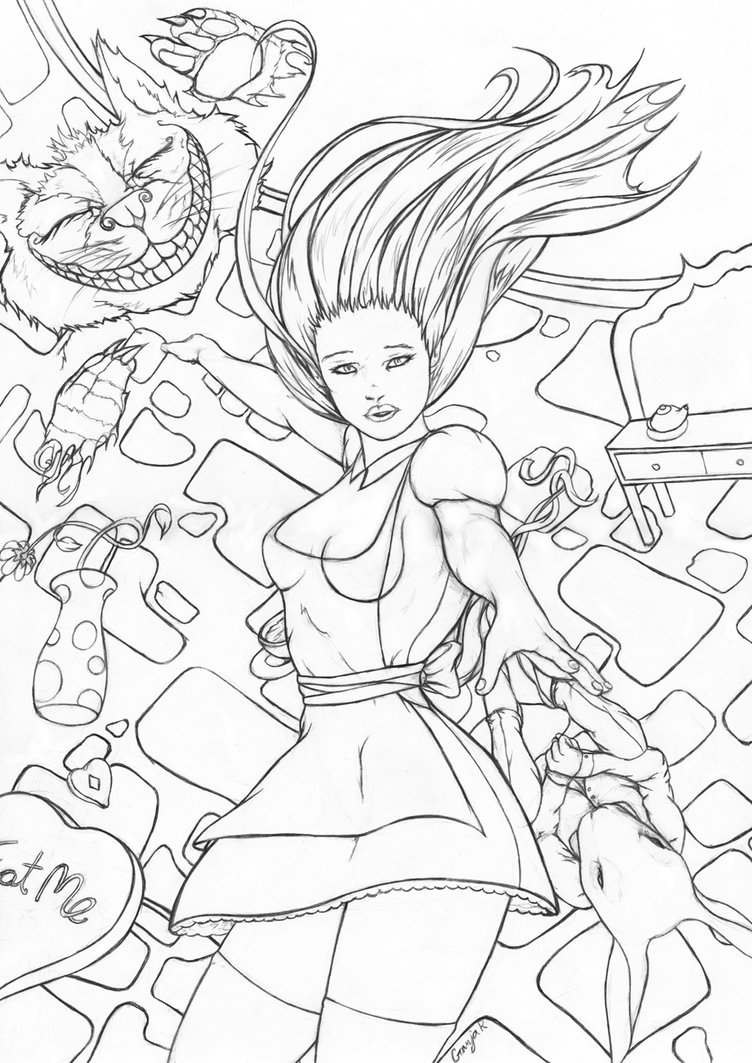 752x1063 Alice Falling Pencils By Esdras78