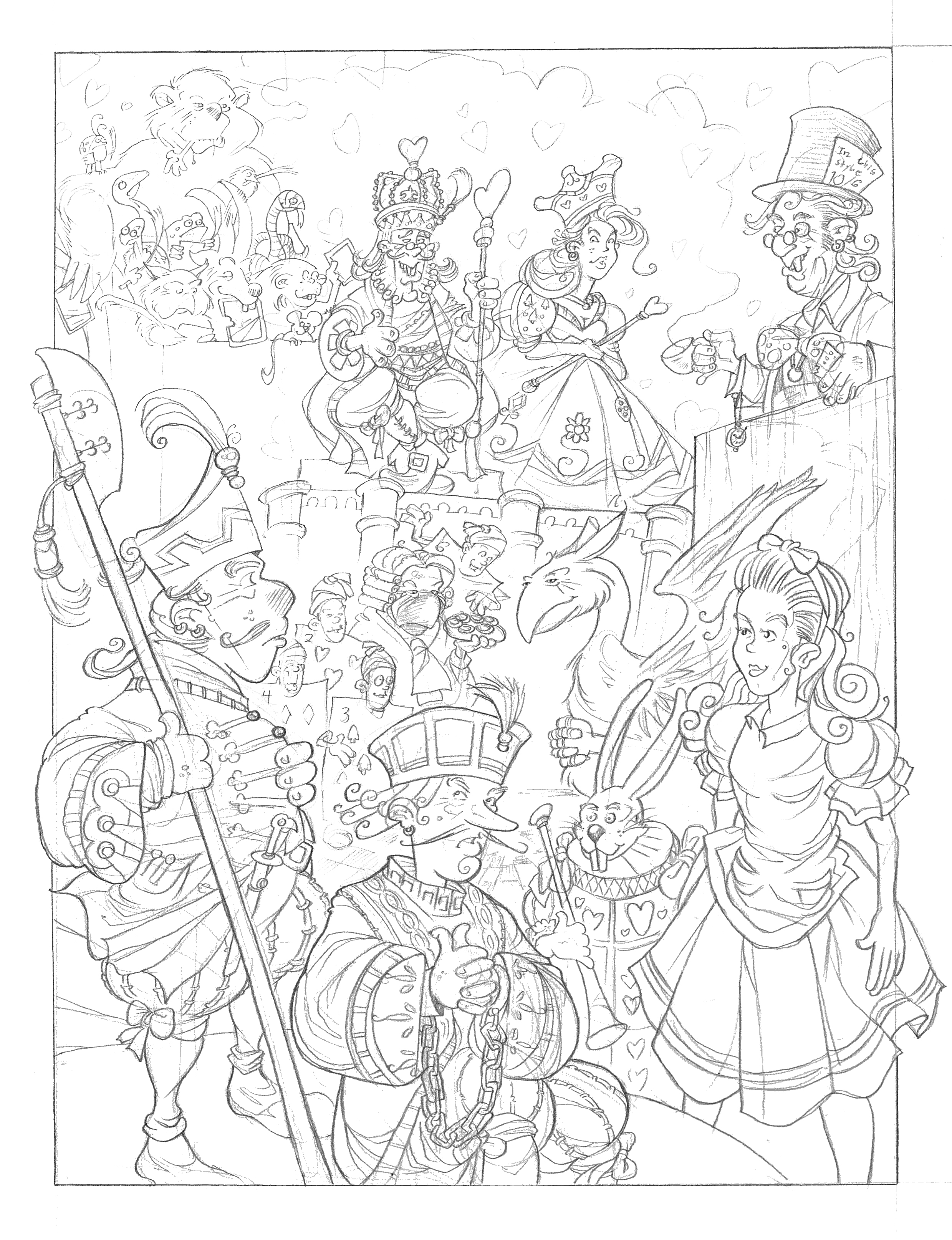 2479x3229 Drawn Alice In Wonderland Sketch
