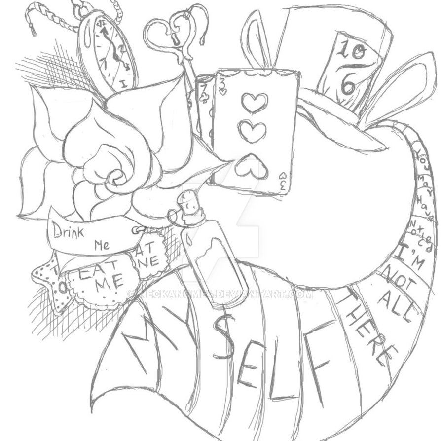 894x894 Tattoo Design Alice In Wonderland Computer By Neckanome4