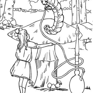 300x300 Alice In Wonderland Caterpillar Smoking Coloring Pages Colouring
