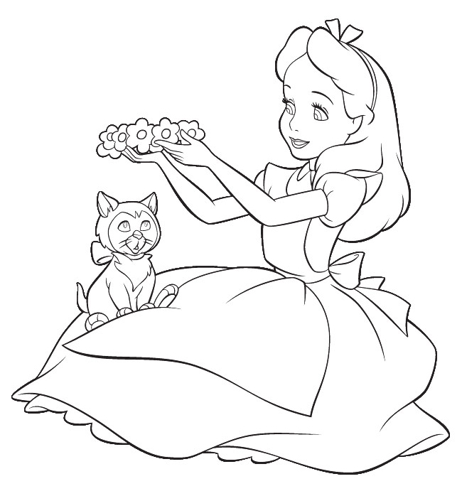 650x698 alice in wonderland coloring pages for adults cartoon design from