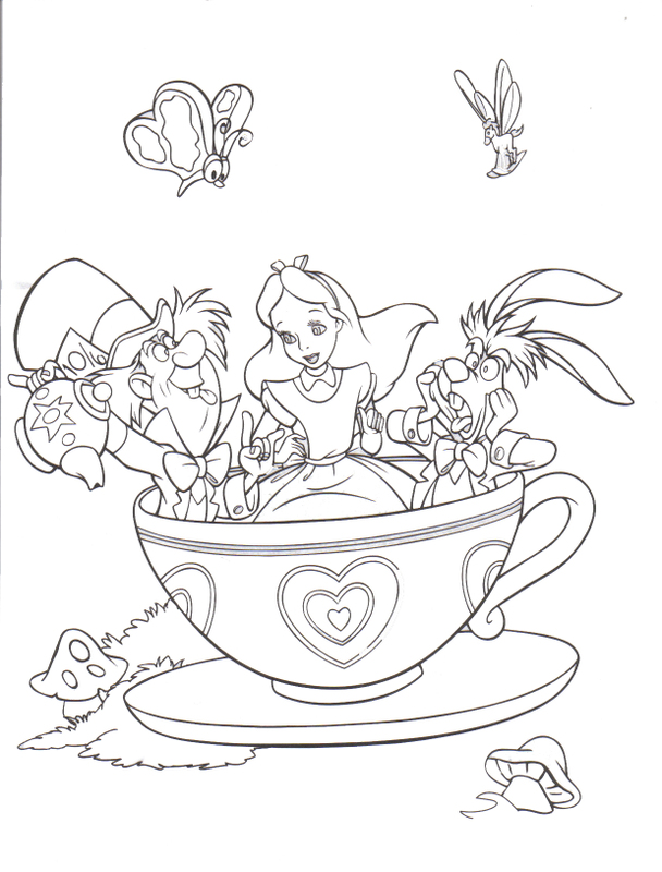 For Tiny Page Draw 1 608x800 Drawn Alice In Wonderland Coloring Pages