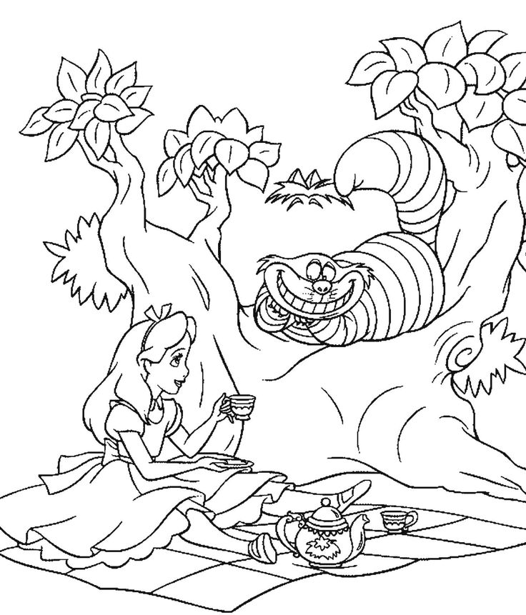 736x861 Alice In Wonderland Coloring Pages Cartoon And Movie Cat