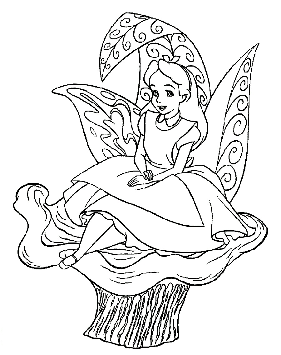 900x1136 Alice In Wonderland Mushroom Coloring Pages Printable Sweet Draw