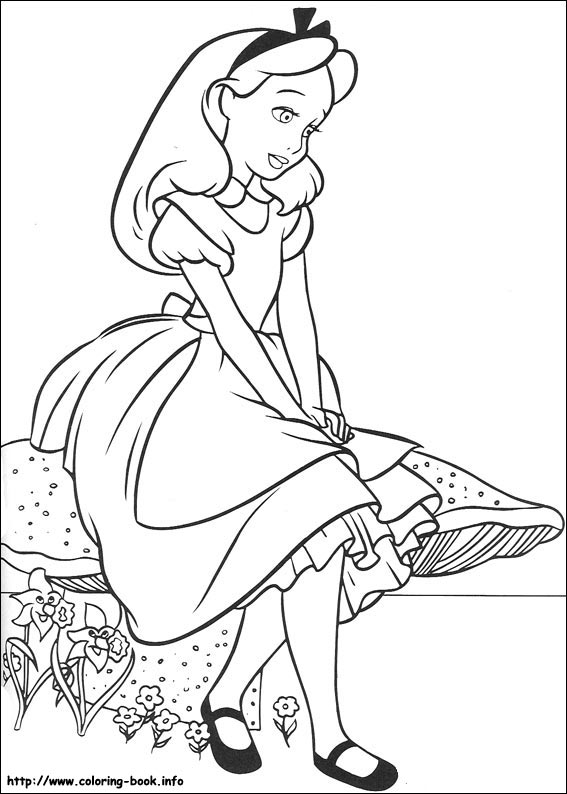 567x794 Alice Wonderland Coloring Pages