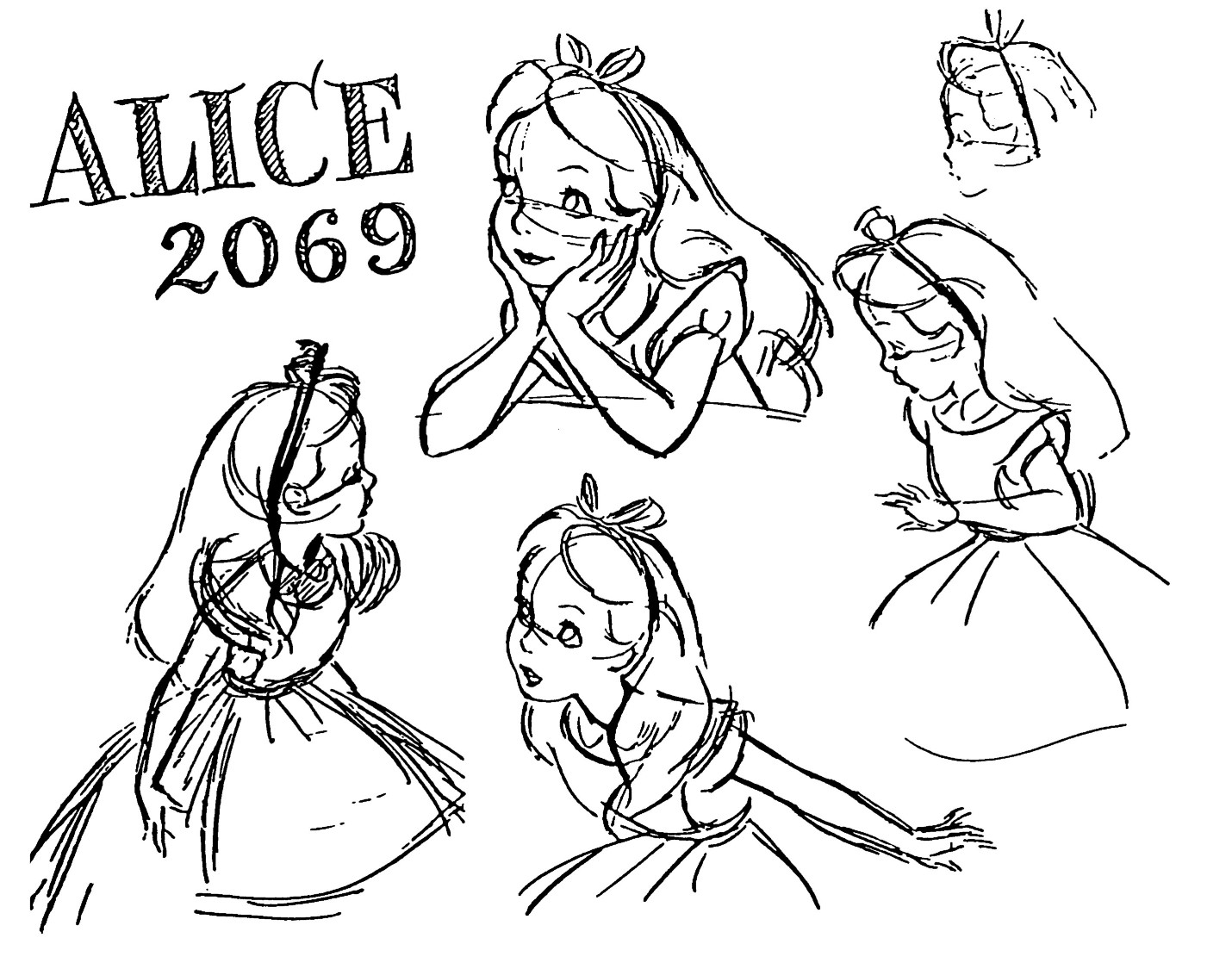 Alice In Wonderland Cartoon Drawing
