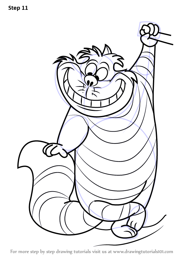 596x843 Learn How To Draw Cheshire Cat From Alice Wonderland (Alice