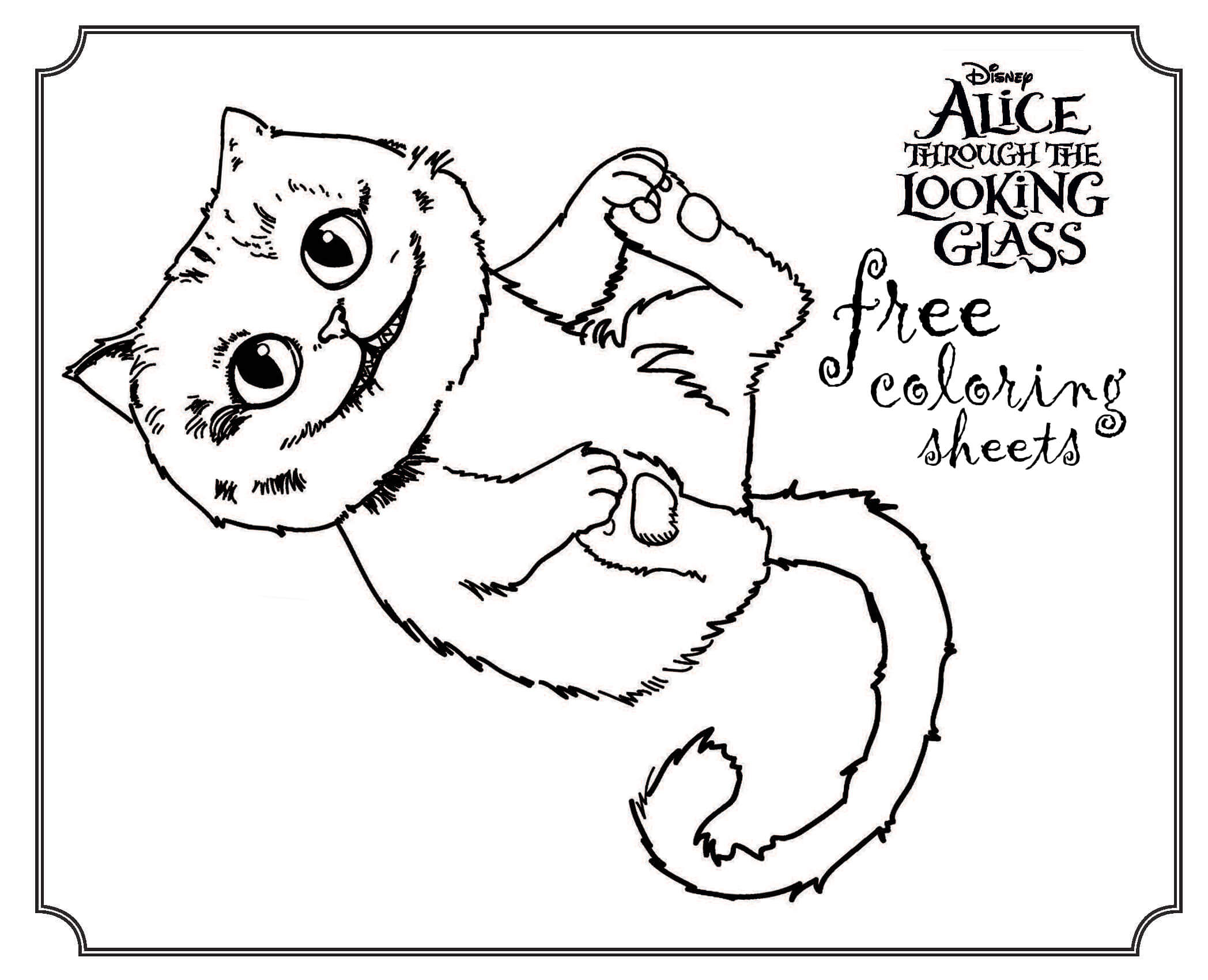 picture relating to Printable Alice in Wonderland identify Alice In just Wonderland Cat Drawing at  No cost