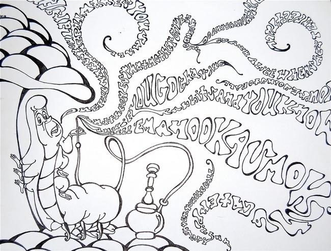 650x493 Alice In Wonderland Caterpillar Smoking Coloring Pages Printable
