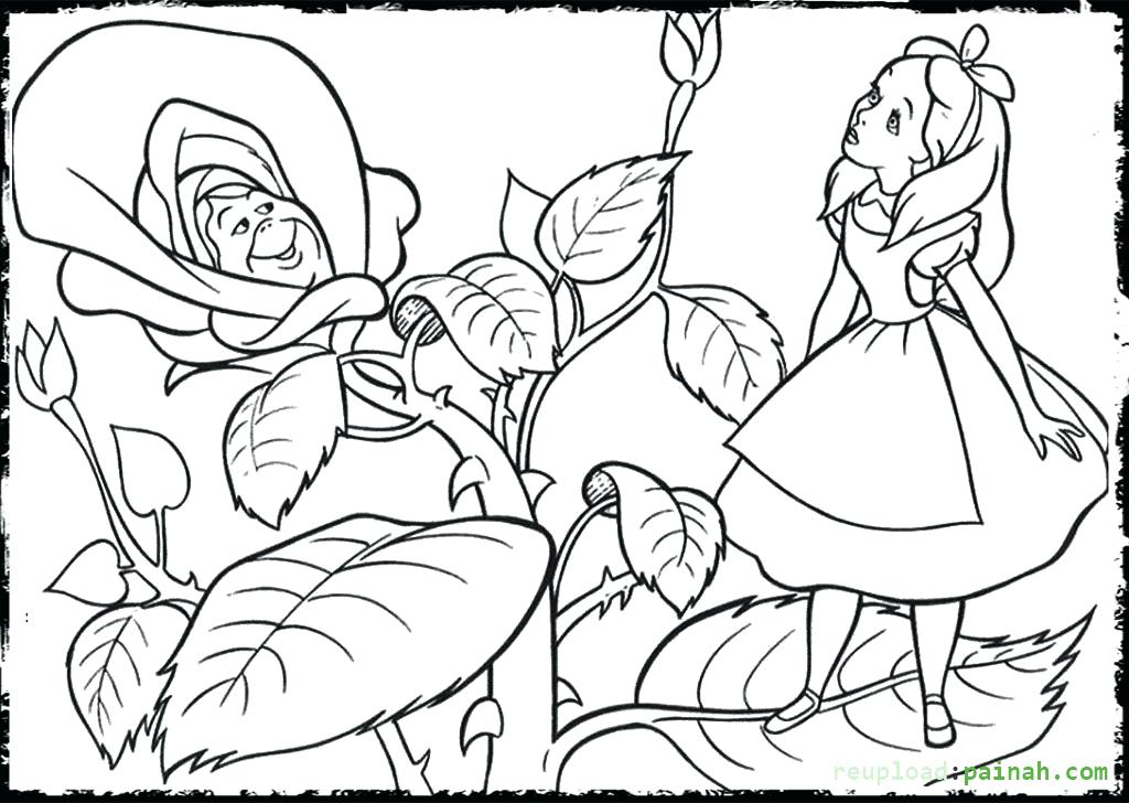 1024x728 Alice In Wonderland Coloring Page In Wonderland Coloring Pages
