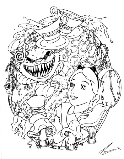 395x507 Alice And The Creepy Cheshire Cat Tattoos Cheshire