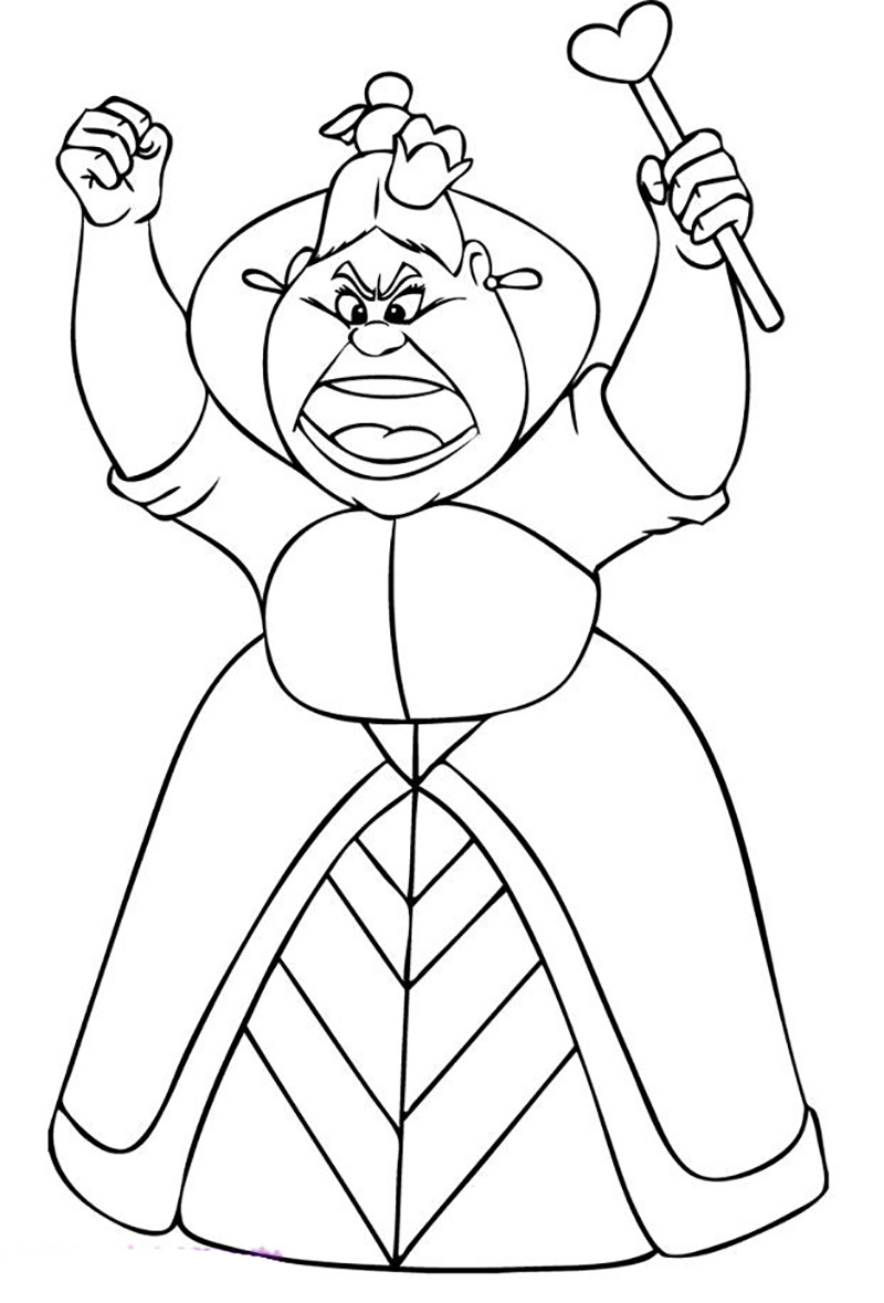 800x1179 Alice Wonderland Queen Coloring Page In Drawings