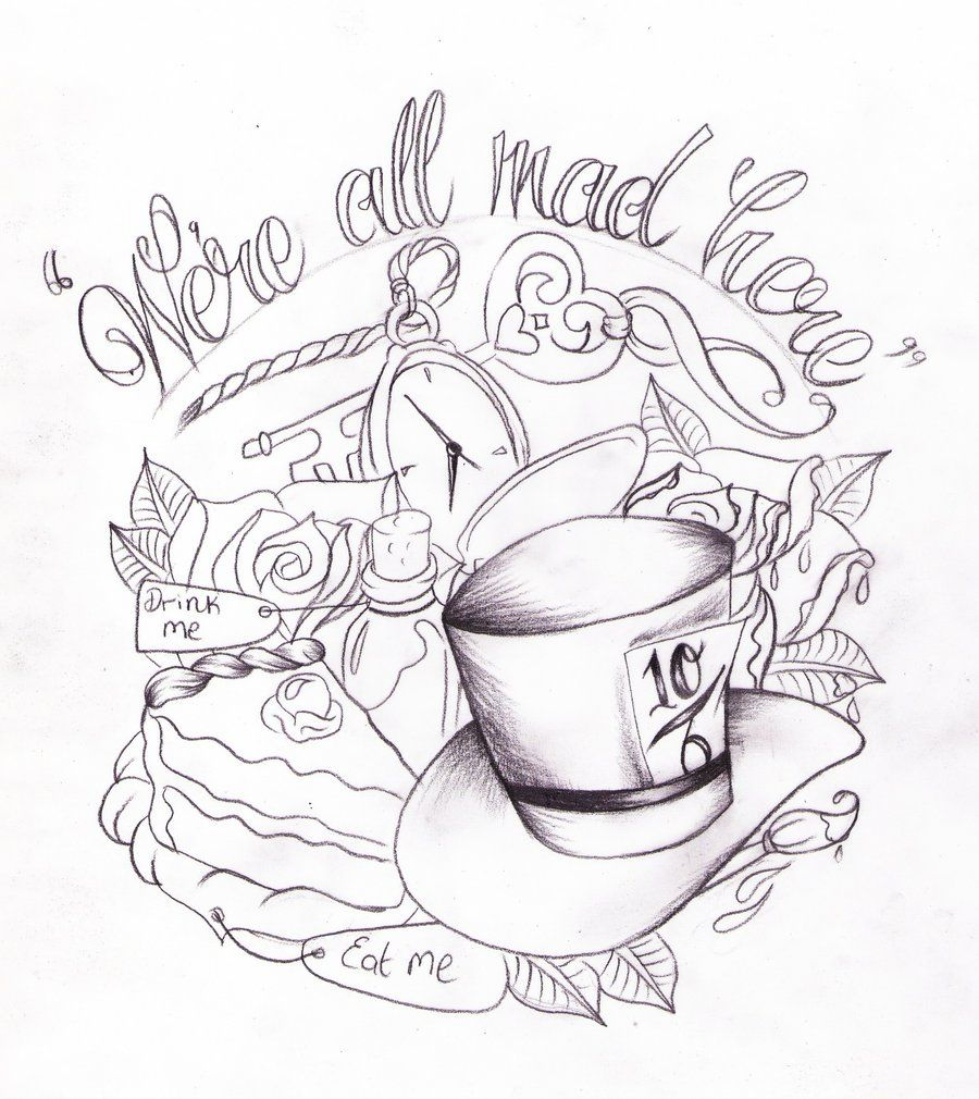 900x1010 Alice In Wonderland Tat Sketch By Nevermore