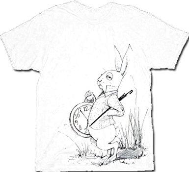 385x351 Alice In Wonderland White Rabbit Sketch Mens White T