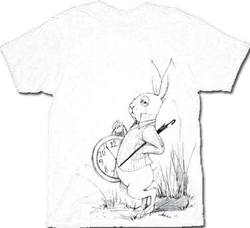 500x455 Alice In Wonderland White Rabbit Clock Men's T Shirt