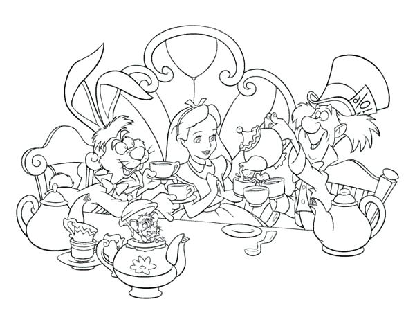 600x468 Alice In Wonderland Coloring Pages And Mad Hatter And White Rabbit