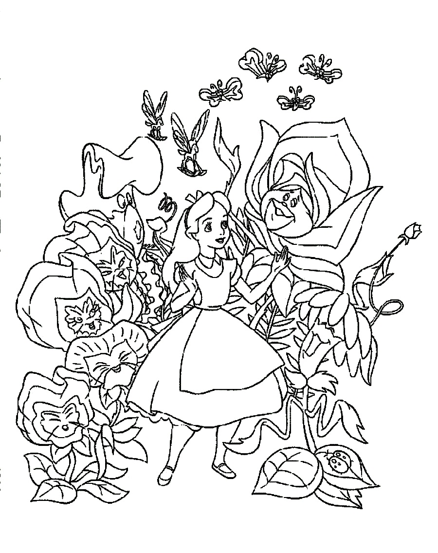 900x1136 Alice In Wonderland Printable Coloring Pages Of Characters Iron