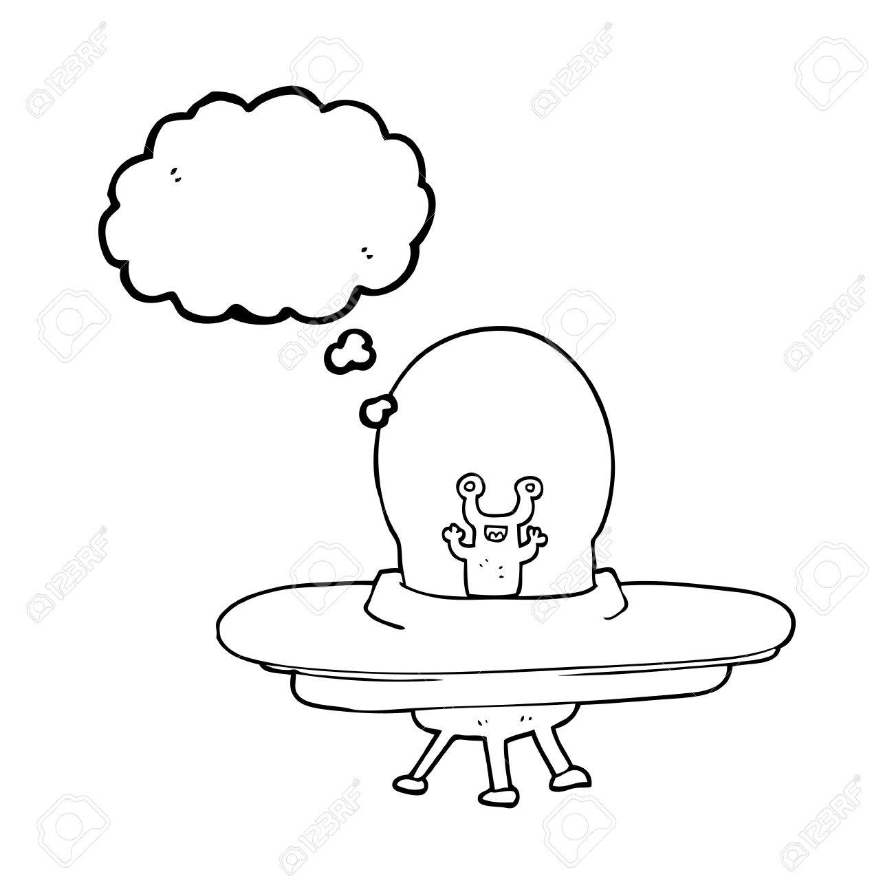 1300x1300 Freehand Drawn Thought Bubble Cartoon Alien Spaceship Royalty Free