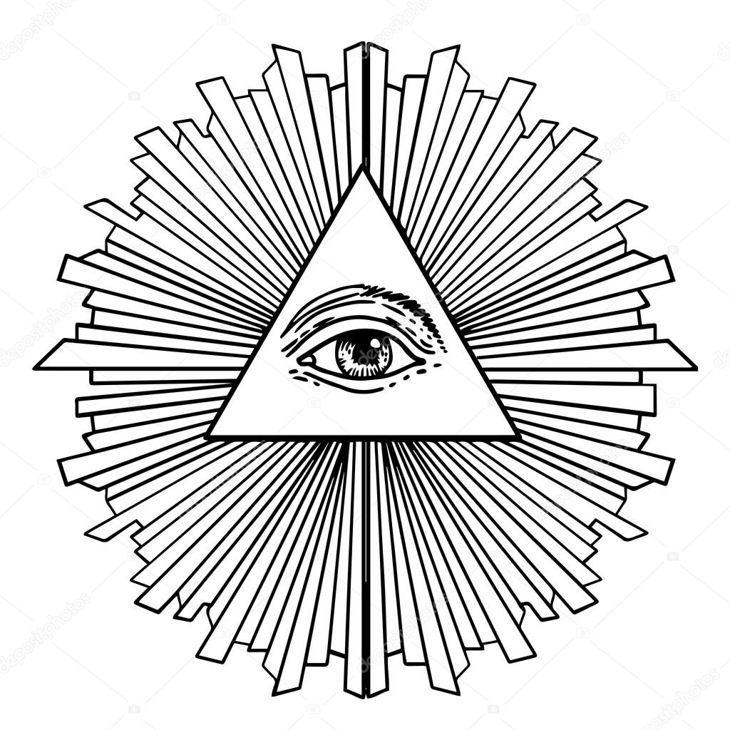 1024x1024 All Seeing Eye Inside Delta Triangle Pyramid Stock Vector