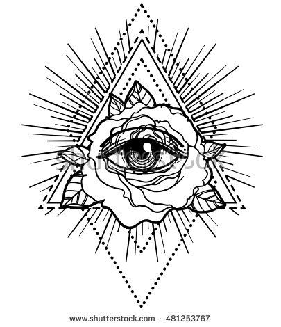 405x470 All Seeing Eye Pyramid Symbol With Rose Flower. Sacred Geometry