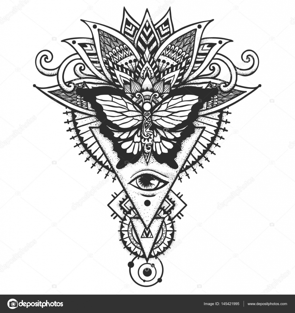 963x1024 Butterfly On Ethnic Leaves All Seeing Eye, Freemason