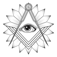 240x240 Masonic Square And Compass Symbol With All Seeing Eye , Freemaso