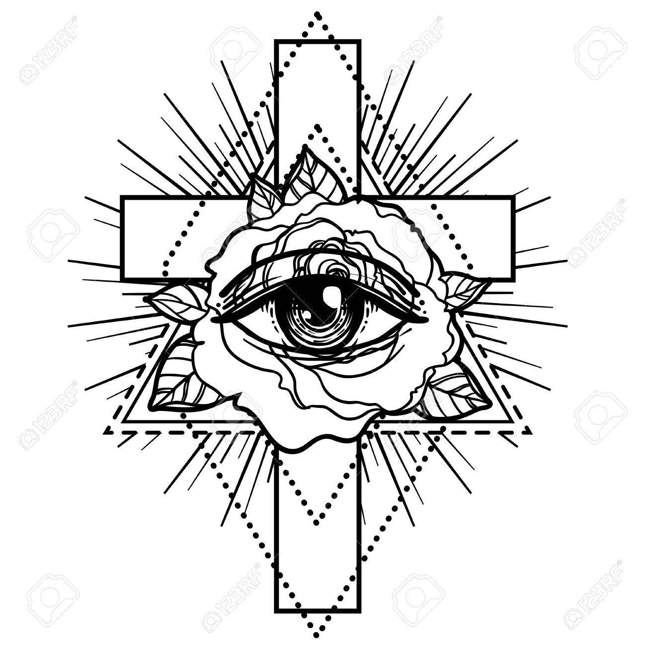 1300x1300 Rosicrucianism Symbol. Blackwork Tattoo Flash. All Seeing Eye