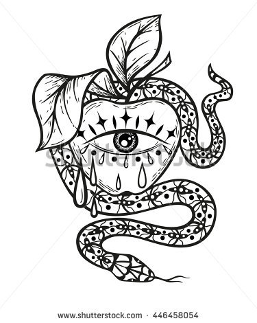 375x470 Stock Vector Hand Drawn Illustration With All Seeing Eye Snake