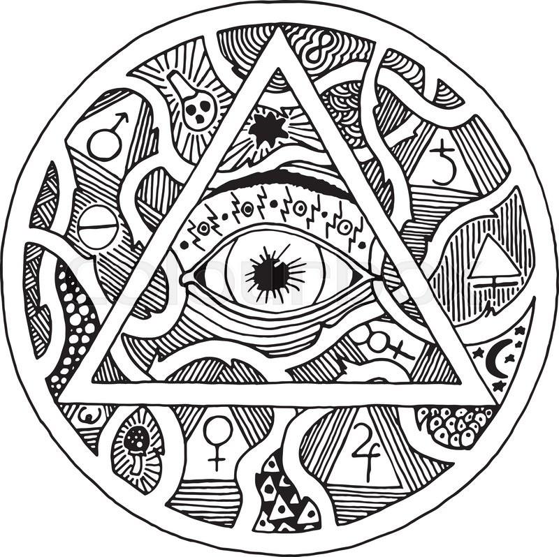800x798 All Seeing Eye Pyramid Symbol In Tattoo Engraving Design Vintage