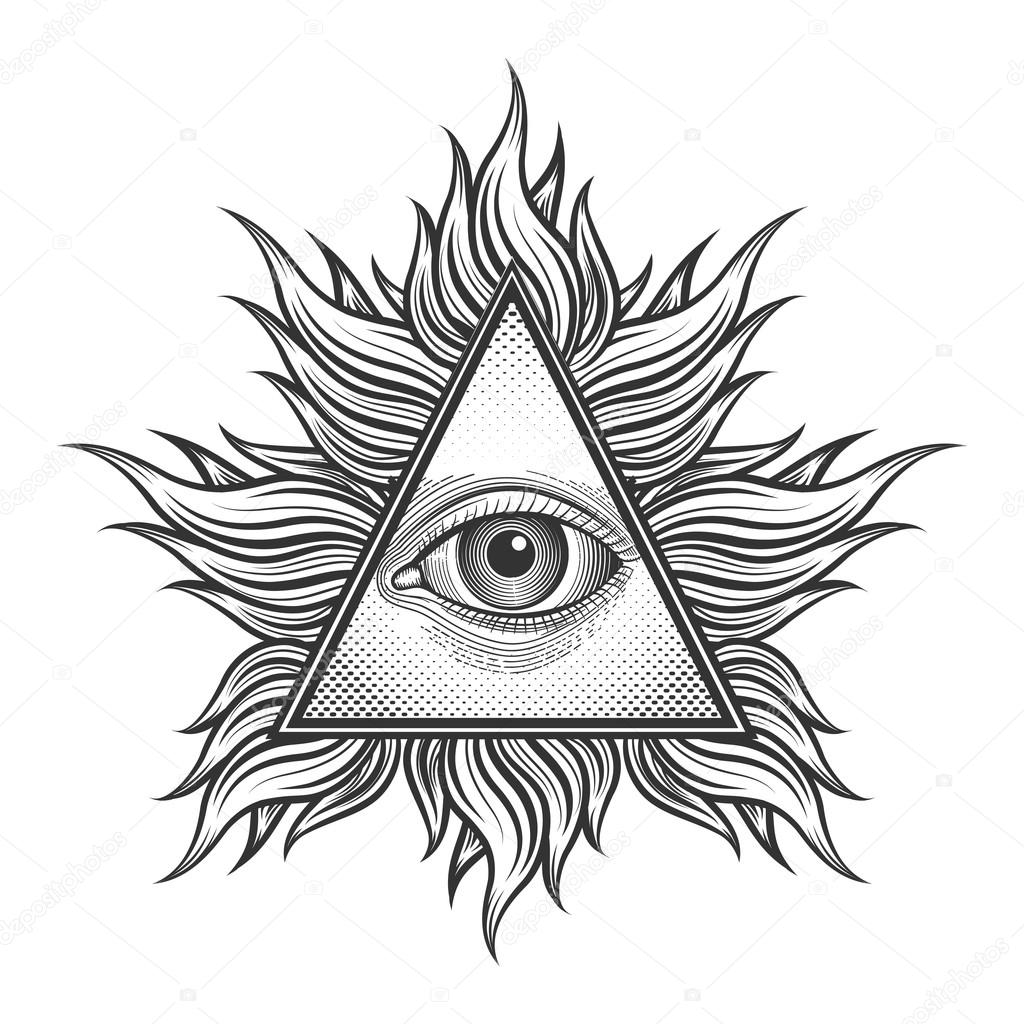 1024x1024 All Seeing Eye Pyramid Symbol In The Engraving Tattoo Style