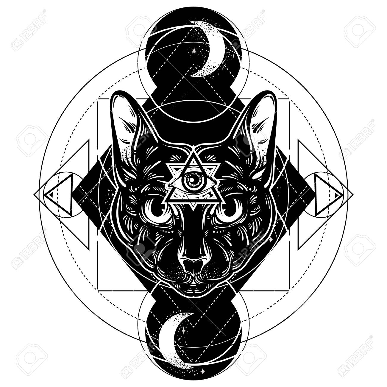 1300x1300 Vector Hand Drawn Ilustration Of Cat. All Seeing Eye Pyramid