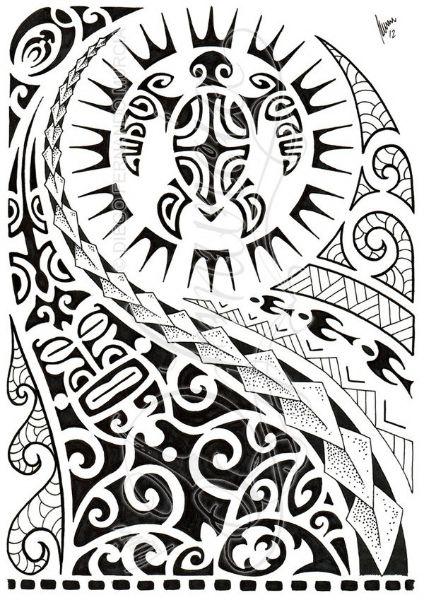 424x600 Polynesian Shoulder Tattoo With Turtle Mantas Pigeons Sun Lizard