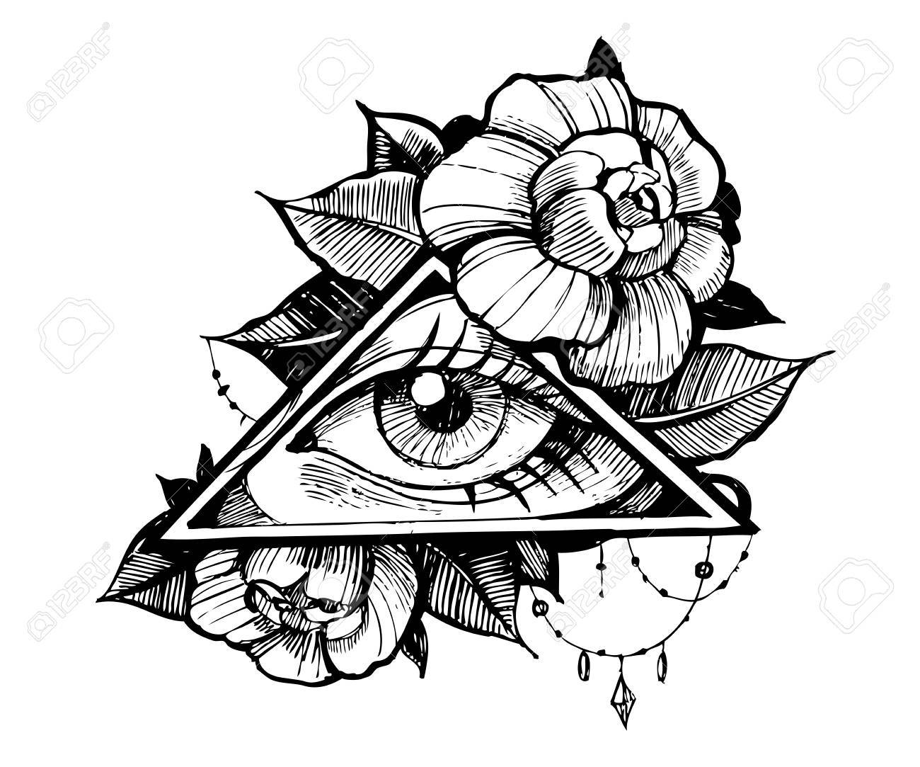 1300x1083 All Seeing Eye. Tatto Sketch. Vector Illustration Stock Photo