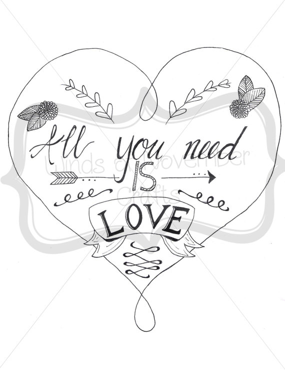 570x738 All You Need Is Love Coloring Page Digital Download