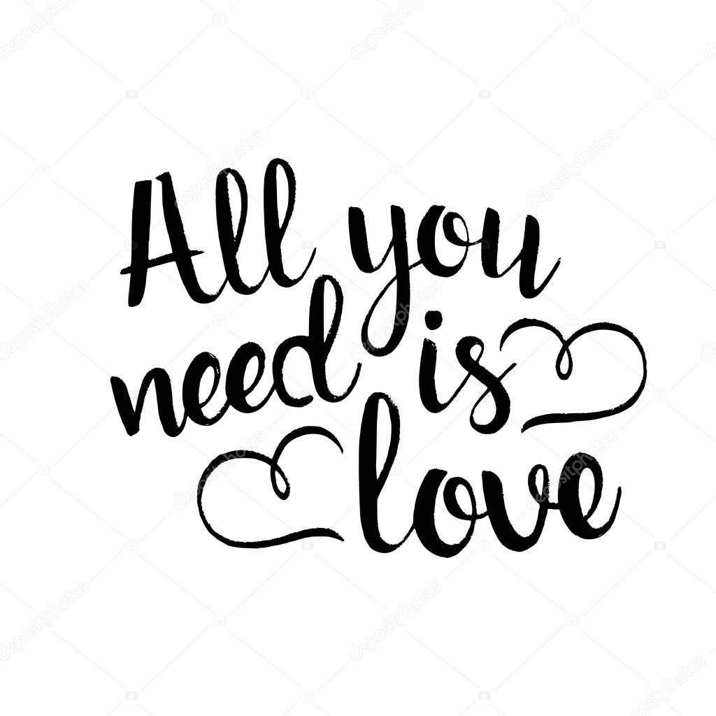 1024x1024 All You Need Is Love Handwritten Lettering Stock Vector