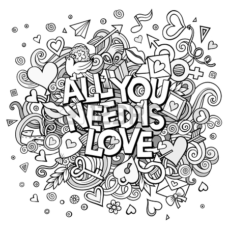 450x450 Cartoon Vector Hand Drawn Doodle All You Need Is Love Illustration