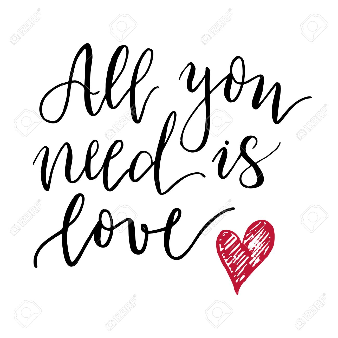 1300x1300 All You Need Is Love Lettering Print. Modern Style Lettering