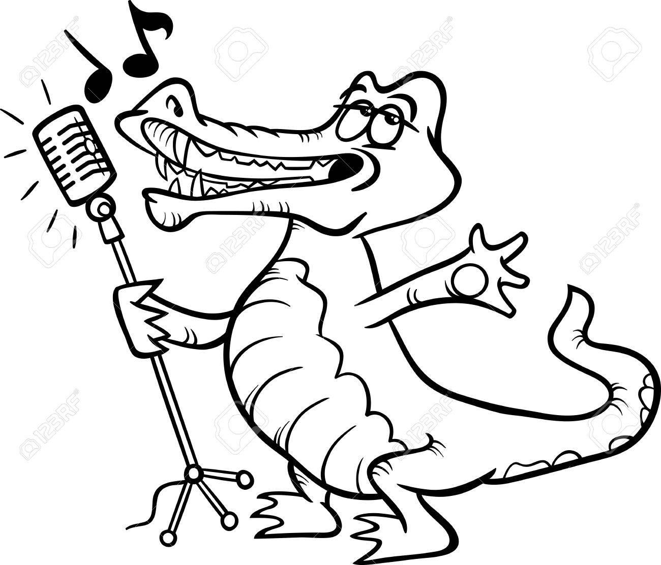 1300x1112 Black And White Cartoon Illustration Of Funny Singing Crocodile