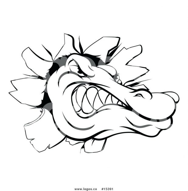 618x630 Cartoon Alligator Drawings Vector Of A Happy Gator Wading In Water