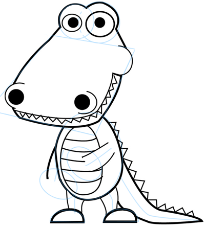 400x446 How To Draw Cartoon Alligators Amp Crocodiles In Easy Steps Drawing