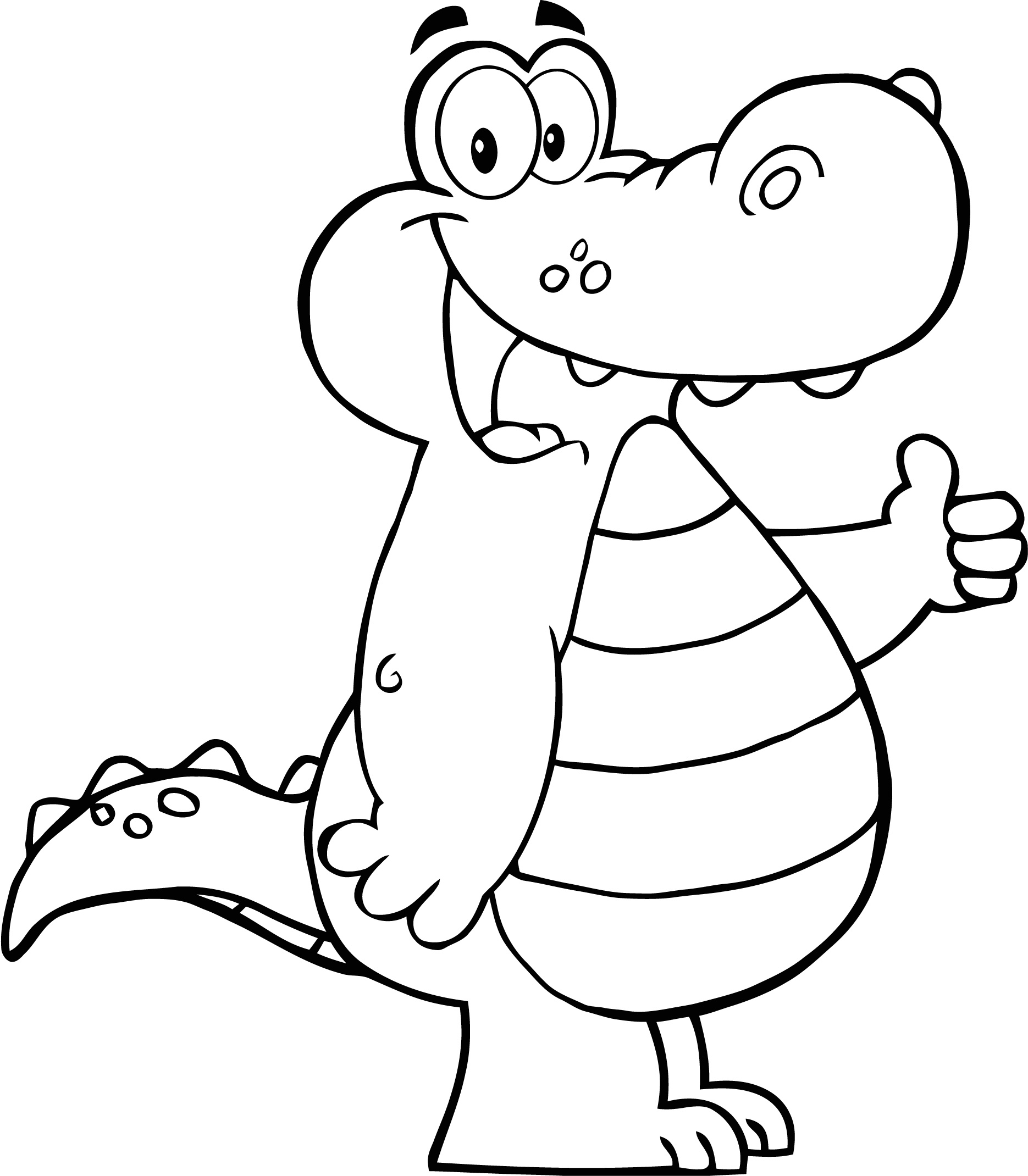 1870x2140 Coloring Page Of Alligator Showing Thumbs Up