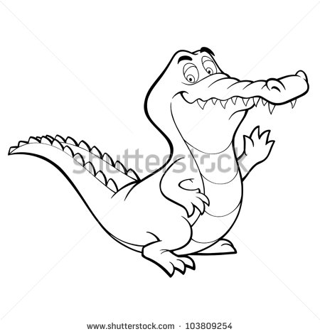 450x470 Vector crocodile cartoon alligator line art coloring book black