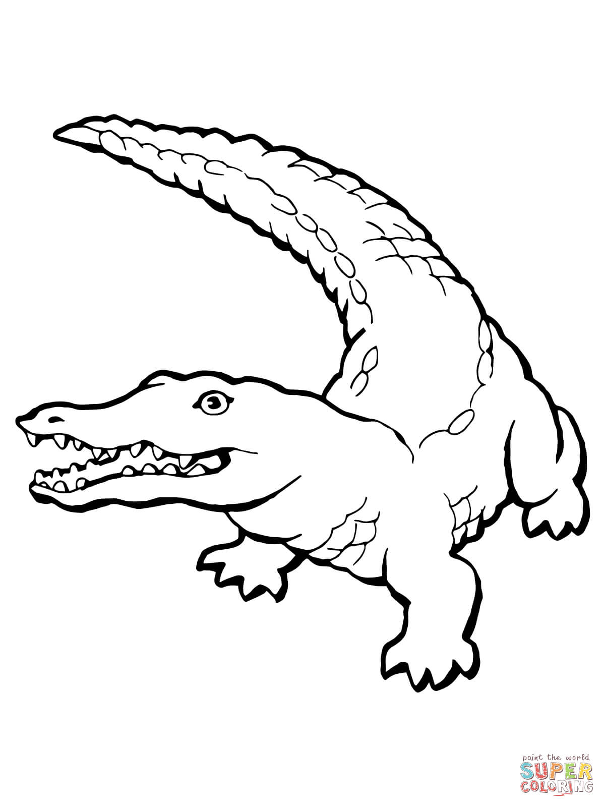 1200x1600 Realistic Crocodile coloring page Free Printable Coloring Pages