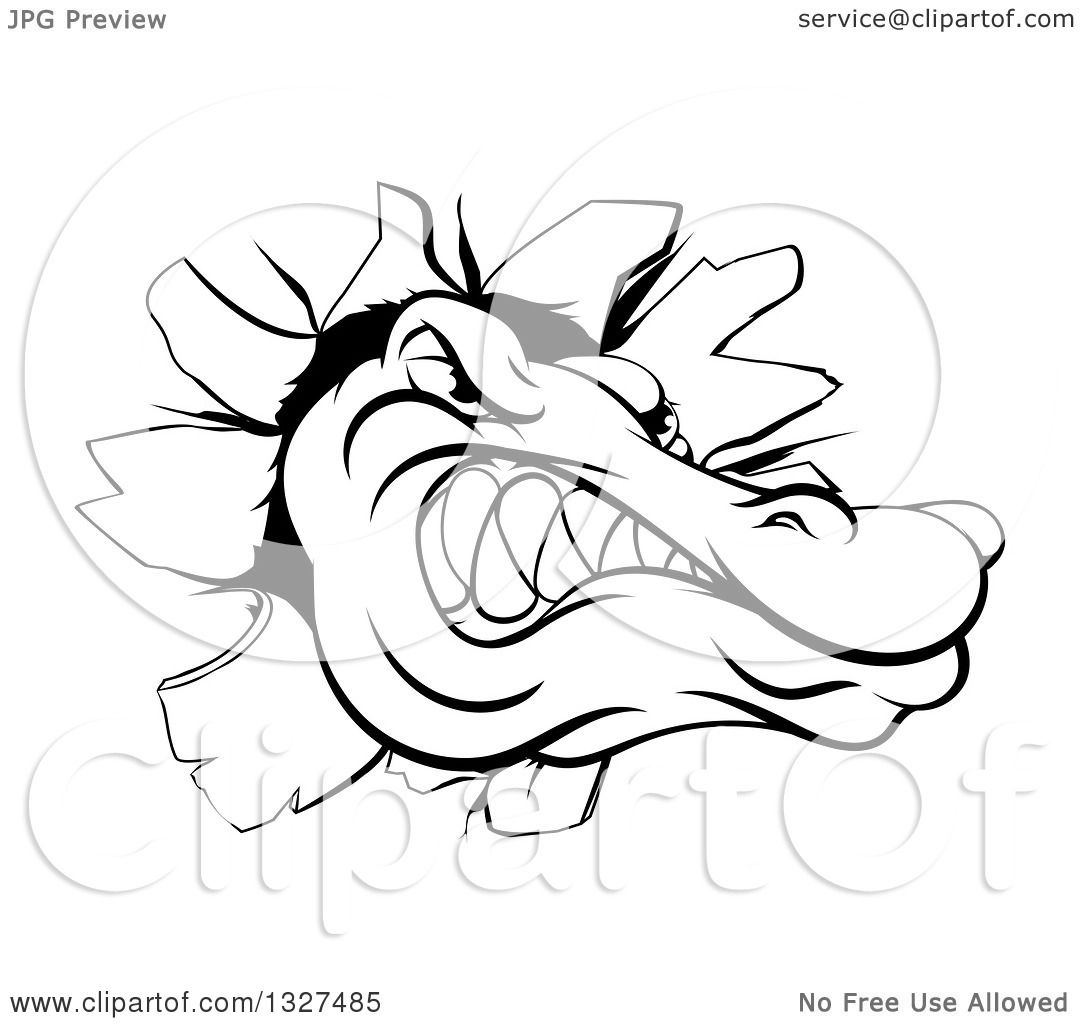 1080x1024 Clipart of a Black and White Alligator or Crocodile Head Breaking