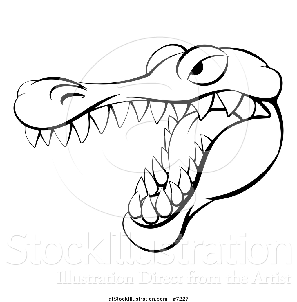 1024x1044 Vector Illustration Of A Black And White Aggressive Snapping