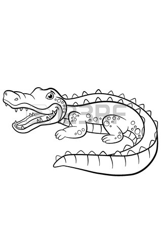318x450 Childrens Cartoon Family Of Crocodiles In Africa. Coloring Book