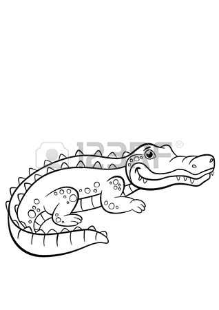 318x450 Coloring Pages. Animals. Mother Alligator Looks At Her Little