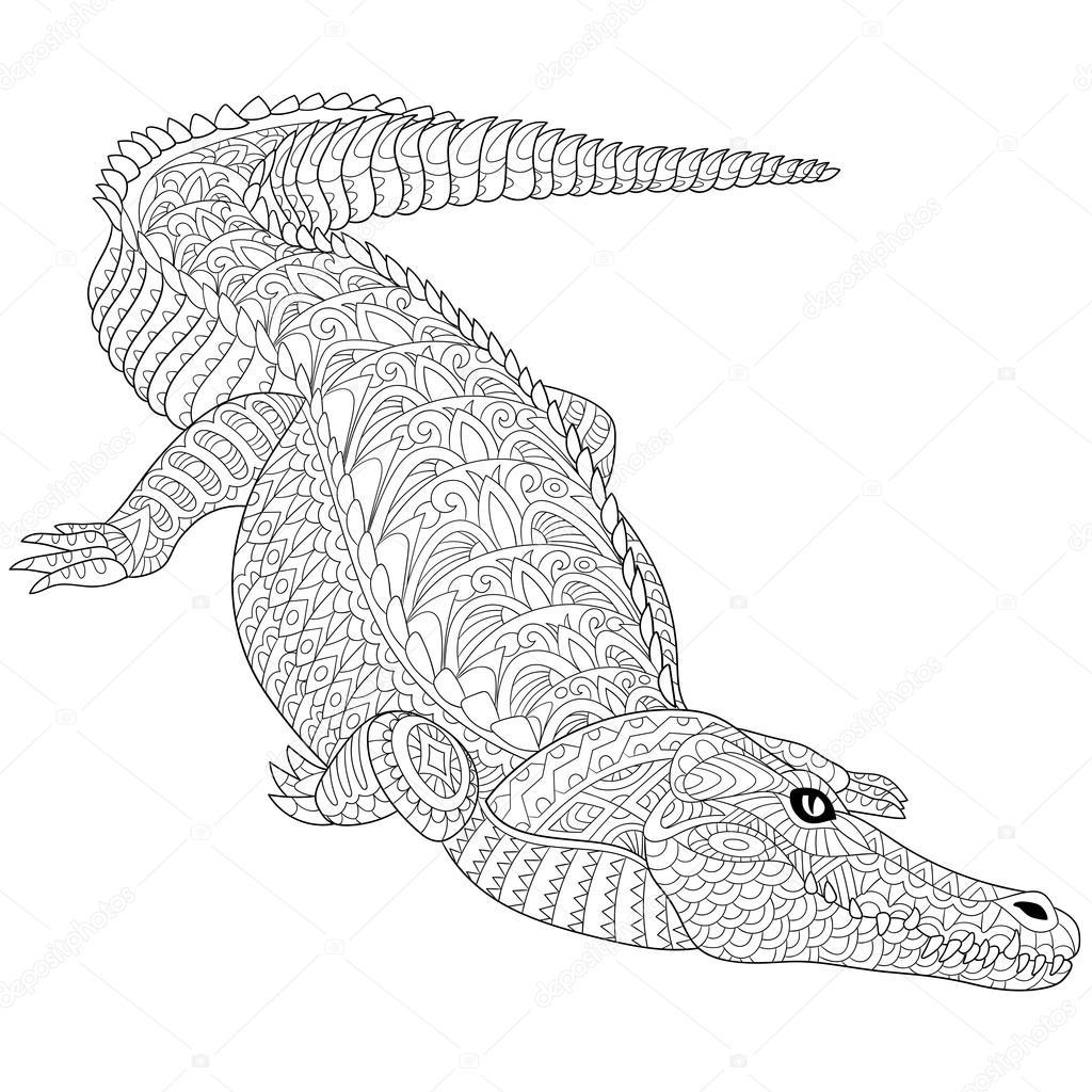 1024x1024 Zentangle Stylized Crocodile (Alligator) Stock Vector Sybirko